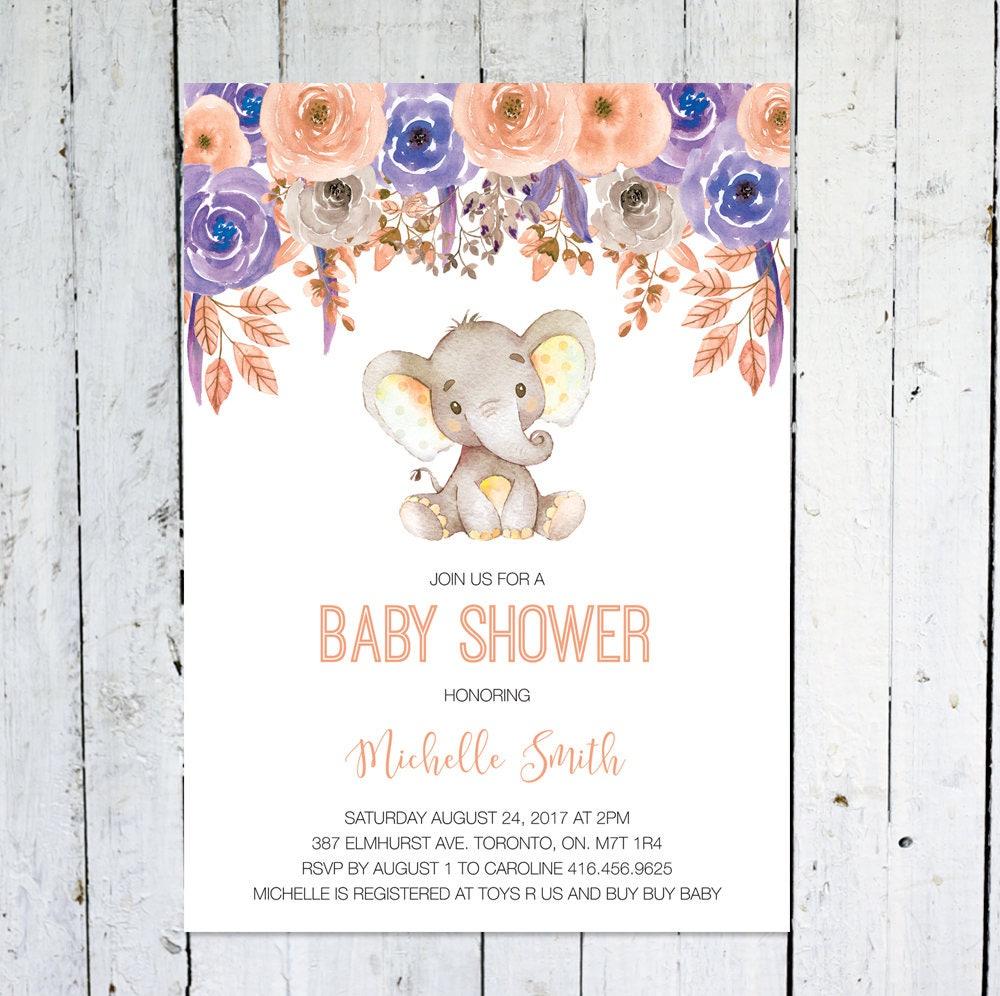 Baby Shower Invitation Girl Elephant Baby Shower Invitation