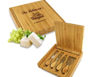 Cheese Knife Set and Cutting Board - Personalized Vineyard Wooden Cheese Board With Knives - Custom Wedding Gift Idea - FREE SHIPPING