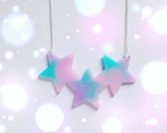 Cute Star Statement Necklace, Party Kei, Fairy Kei, Pastel Goth, Harajuku etc inspired