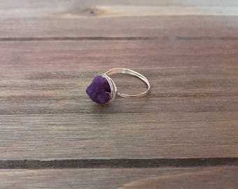 Raw Ruby Wire Wrapped Ring ~ 14K Gold Fill ~ July Birthstone ~ Rough Ruby ~ Raw Gemstone ~ Birthstone Ring ~ Stacking Ring ~ Minimalist