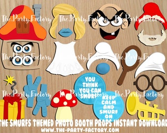 The Smurfs Themed Photo Booth Props Instant Download, PDF File, Digital File, Printables