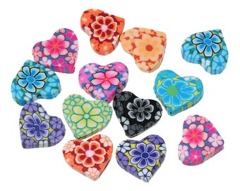 25 Polymer Fimo Clay Heart Beads 15 x 13mm (B211k)