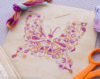 Variegated Butterfly Cross Stitch Pattern PDF | Coloris ThreadworX Hand-Dyed Floss