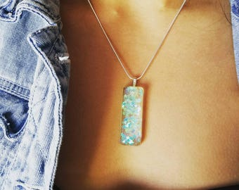 Rectangular Resin Necklace with floating Stars inside