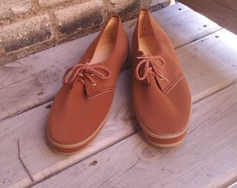Vintage Brown Soft Tennis Shoes Deadstock
