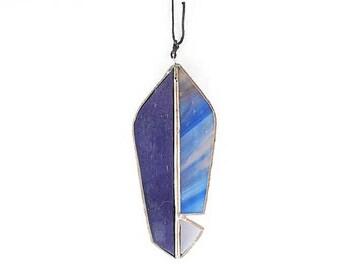stained glass feather suncatcher mini purple