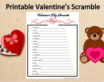 Instant Download Valentineu0027s Word Scramble Game~Printable Valentineu0027s Day  Word Game~Digital Valentine Party