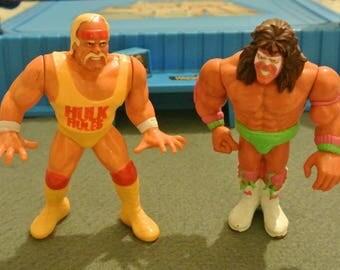 Hasbro WWF wrestling Figures - Hulk Hogan and Ultimate Warrior Series 1