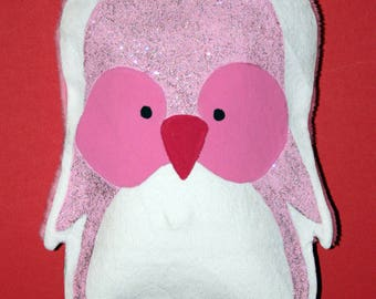 Small heating pad - pink glitter Penguin - OOAK