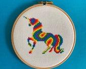 Cross stitch kit, fun, easy cross stitch, craft kit, beginners cross stitch kit, rainbow, unicorn, self care, diy, gift, anxiety, aid