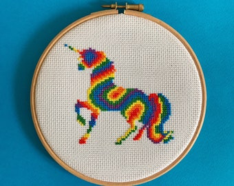 Cross stitch kit, fun, easy cross stitch, craft kit, beginners cross stitch kit, rainbow, unicorn, self care, diy, gift, anxiety, aid