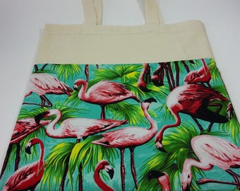 Flamingo fabric tote bag.