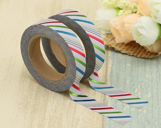 Skinny foil striped Washi Tape -  Washi Tape -  washi Tape - Paper Tape - Planner Washi Tape - Decorative Tape -  foiled skinny stripe washi