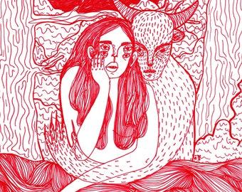 Red - print, 15.8 x 11 cm