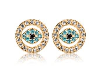 Evil Eye 14K Yellow Gold Blue Black CZ Screw Back Stud Earrings 0.35 CT