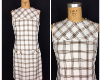1960s White and Brown Checkered Mod Dress | 60s Sleeveless Secretary Wiggle Dress