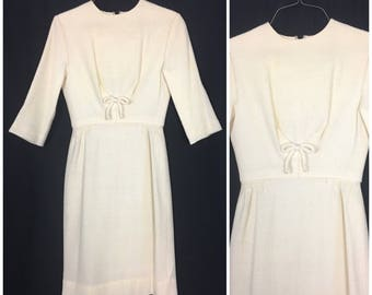 1950s Cream Wiggle Dress with Bow 50s White 3/4 sleeve Wool Dress with Waist Bow