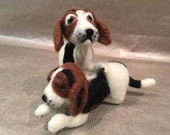 Needle felted dog, felted dog sculpture, felted dog memorial, felted dog portrait, felted dog figurine, Beagle, dog ornament, dog decor, dog