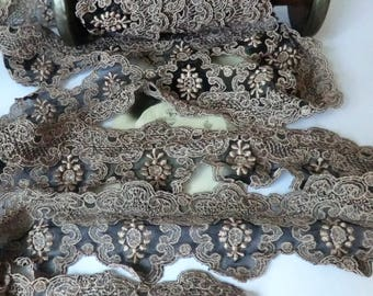 Vintage Black Netting Ecru Lace Gorgeous French Lace per Yard (36 inches)