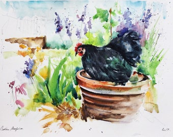 "Original watercolor painting-""black hen in the garden"" free shipping (watercolor painting flower rooster chicken poultry backyard hen)"