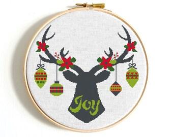 Deer cross stitch pattern Merry Christmas Ornaments cross stitch Flower Counted cross stitch Deer Christmas Decoration Funny cross stitch