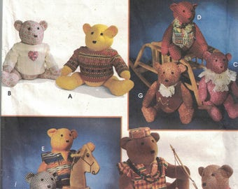 Simplicity 9053 Vintage Craft Pattern - 20 Inch Teddy Bears and Clothing UNCUT
