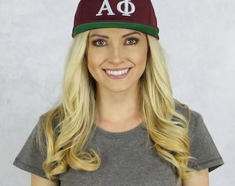 Alpha Phi Snapback Hat in Maroon