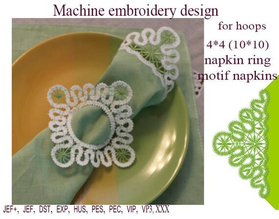 Machine embroidery designs motif napkins napkin ring lace