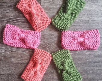 Made to Order - Knit Pinched Headband/ Knit Turban style Headband/ Knit Bow style Headband/ Teen Adult size Earwarmer/