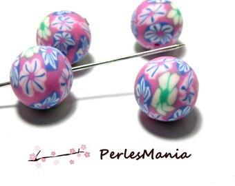 10 Pearl polymer clay flower power ref H212Y14D 14 mm, DIY