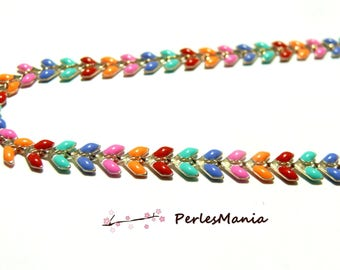 20 cm chain CHEVRON COB enameled metal DORE and multicolored enamel