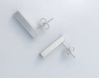 Sterling Silver Solid Shard Bar Earrings, simple, sleek, modern, contemporary, minimal, urban, brushed silver finish