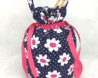 Knitting Tote, Knitting Project Bag, Drawstring Bag, WIP Bag, Crochet Tote, Crochet Project Bag