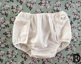 Large Robbie Adult Snap Diaper Cover - Waterproof Underwear Knickers Nappies - FOE Cloth Diaper Cover - Plastic Lined Panties - White Eyelet