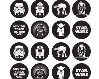 EDIBLE Star Wars Wafer Cupcake Toppers