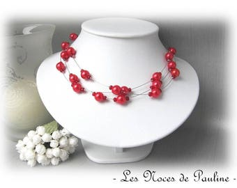 Red Pearl wedding melody 3 row necklace