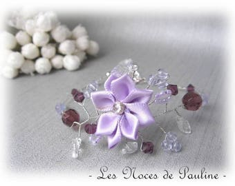 Wedding bracelet purple Daisy collection 'Twist' d.