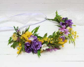 Spring floral crown Lilac yellow flower headpiece Bridal headband Wedding hair wreath Greenery crown  Maternity crown Hair flowers