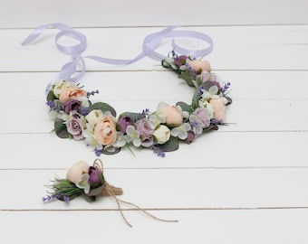 Lilac pink lavender flower crown Boutonniere Wedding flower accessories Bridal floral crown Wedding hair wreath Groom boutonniere Headband