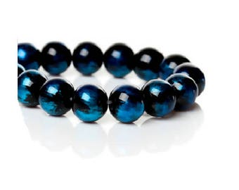 Set of 40 10 mm black and blue glass beads