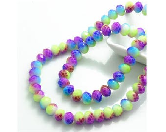 Set of 10 pastel colored 8 mm x 6 mm faceted glass Crystal beads