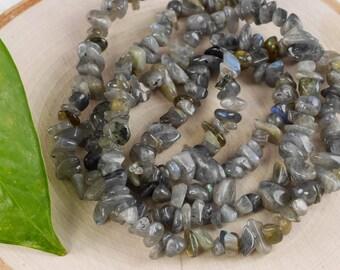 """34"""" LABRADORITE Chip Necklace - Labradorite Bead Necklace, Labradorite Jewelry, Crystal Jewelry, Labradorite Necklace, Healing Crystal E0799"""