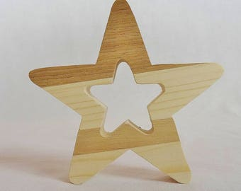 """Christmas tree decoration made of natural wood, spruce, multi-bois douglas or locust """"Star"""" decoration Christmas table"""