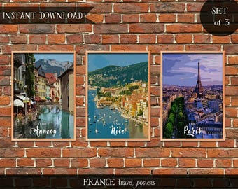 France Travel Posters, Set of 3 Instant download Digital prints