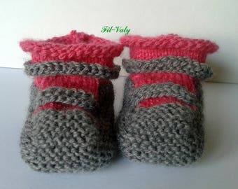 Baby booties in three months