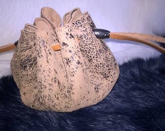natural distressed leather purse