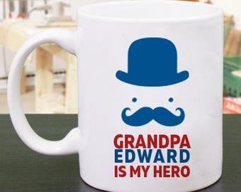 Grandpa Is My Hero, Wonderfully Designed, Personalized Mug for Him