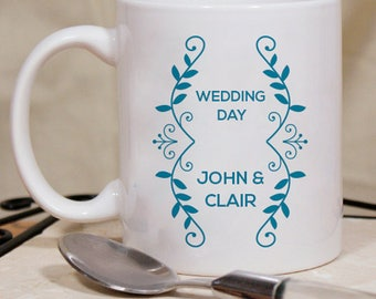 Floral Printed Personalized Beautiful Wedding Day Mug