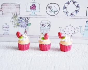 3 Strawberry Cupcake knitting markers