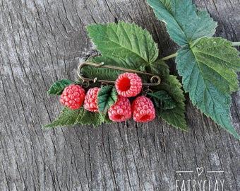 Raspberry brooch, blueberry brooch, handmade brooch, polymer clay berries, polymer clay brooch, gift idea, berry jewelry, berries, brooches.